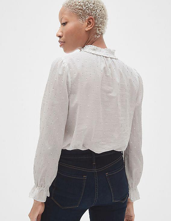 51c7bbe73423a Buy Women Smocked Ruffle Mock neck Blouse in Metallic Clip-Dot ...