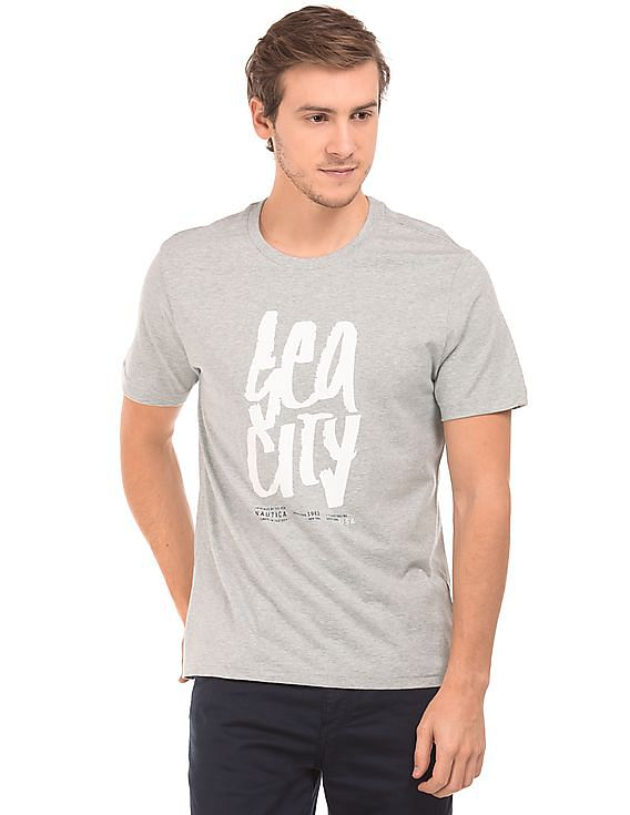 Upto 60% off NAUTICA - Men & Women By Nnnow | NAUTICA Crew Neck Heathered T-Shirt @ Rs.1,799
