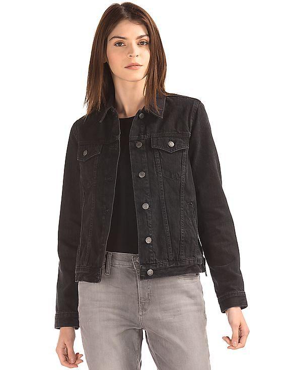 Buy Women Icon Zip Denim Jacket online at NNNOW.com b38ba88c02