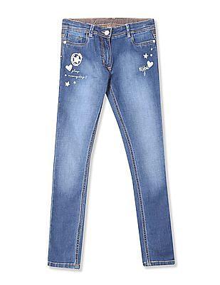 U.S. Polo Assn. Kids Girls Regular Fit Embellished Jeans