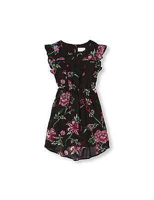 The Children's Place Girls Short Flutter Sleeve Bird And Flower Print High-Low Dress