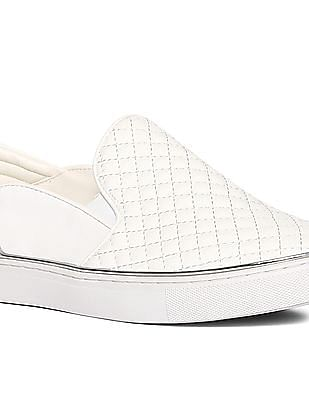 Stride White Metallic Accent Quilted Slip On Shoes