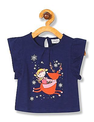 Donuts Girls Ruffle Sleeve Appliqued Top