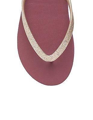 Aeropostale Glitter Embellished V-Strap Flip Flops