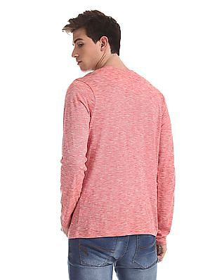 Cherokee Red Slim Fit Patterned Henley T-Shirt
