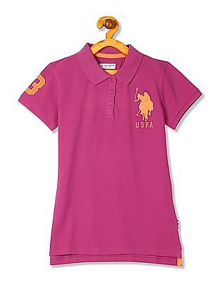 U.S. Polo Assn. Kids Girls Applique Logo Pique Polo Shirt