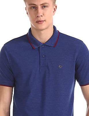 Ruggers Blue Short Sleeve Tipped Polo Shirt