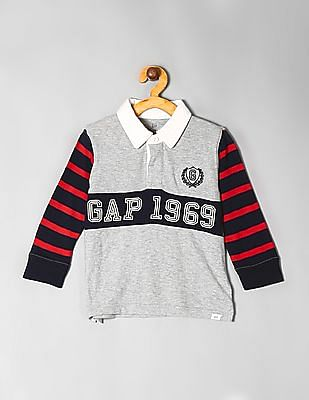 GAP Grey Toddler Boy Embroidered Patch Polo Shirt