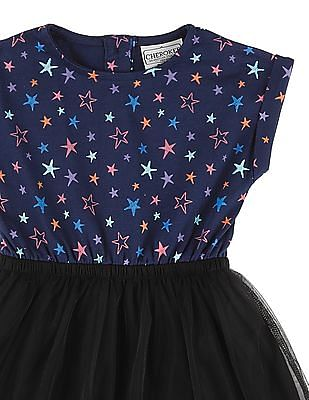 Cherokee Girls Floral Print Tulle Fit And Flare Dress