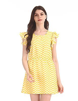 Flying Machine Women Striped Fit And Flare Dress