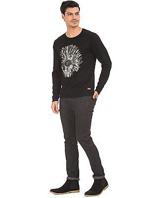 Ed Hardy Skull Printed Slim Fit Sweater