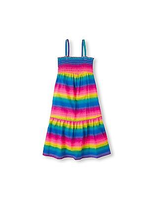 The Children's Place Girls Sleeveless Smocked Striped Tiered Dress