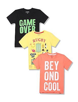 Cherokee Boys Contrast Print Crew Neck T-Shirt - Pack Of 3