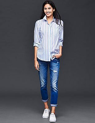GAP Fitted Boyfriend Stripe Shirt