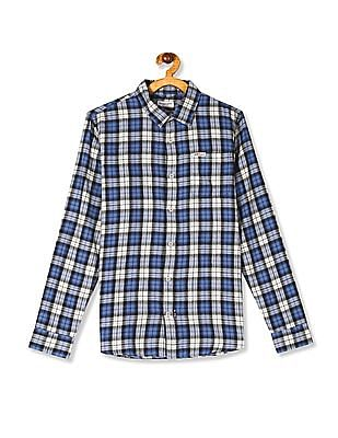 U.S. Polo Assn. Kids Blue Boys Rounded Cuff Check Shirt