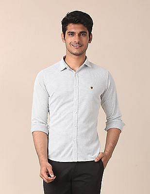True Blue Slim Fit Patterned Knit Shirt