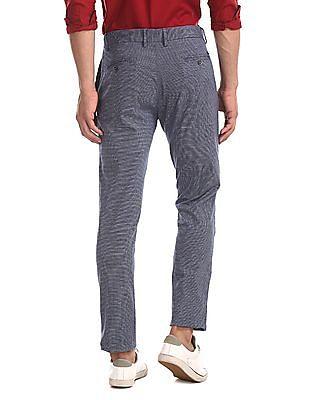 U.S. Polo Assn. Blue Denver Slim Fit Patterned Weave Trousers