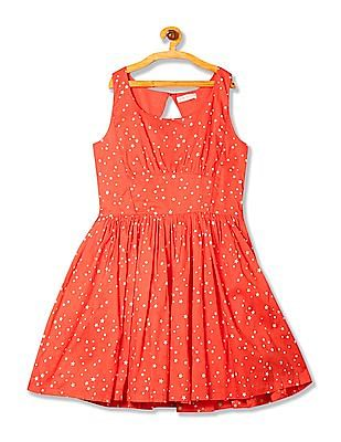 Flying Machine Women Star Print Fit And Flare Dress