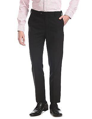 Arrow Black Tapered Fit Autoflex Waist Trousers