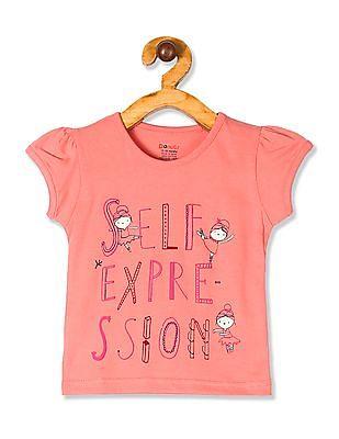Donuts Pink Girls Puff Sleeve Cotton T-Shirt