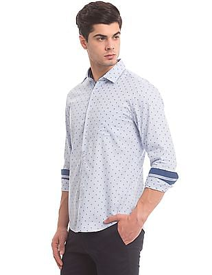 True Blue Patterned Weave Slim Fit Shirt
