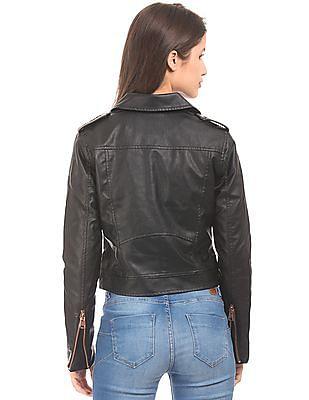 Aeropostale Asymmetric Zipper Biker Jacket
