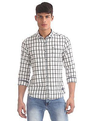 Flying Machine White Spread Collar Check Shirt