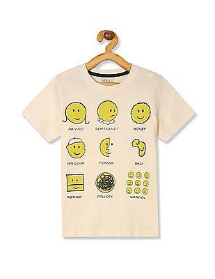 Cherokee Boys Crew Neck Emoji Print T-Shirt