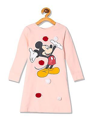 Colt Girls Mickey Mouse Print Sweatshirt Dress