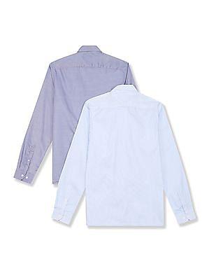 Excalibur Blue Patch Pocket Striped Shirt - Pack Of 2