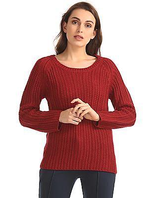 Elle Raglan Sleeve Ribbed Knit Sweater