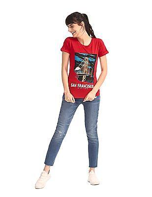 Cherokee Red Round Neck Graphic T-Shirt