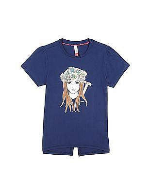 U.S. Polo Assn. Kids Girls Round Neck Graphic T-Shirt