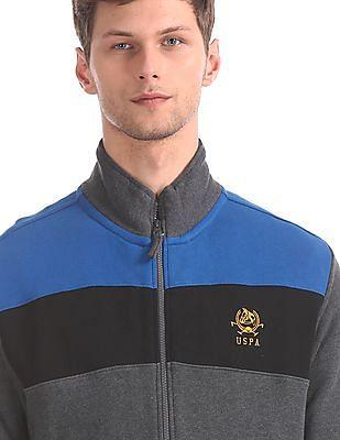 U.S. Polo Assn. Grey And Blue Colour Block Sweatshirt