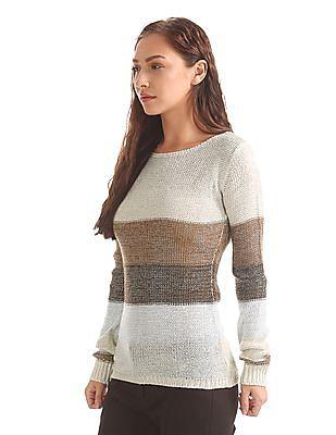 Elle Metallic Knit Striped Sweater