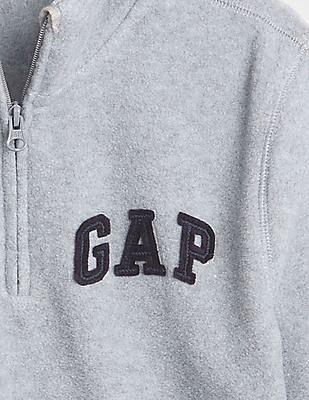 GAP Toddler Boy Grey Logo Quarter-Zip Sweatshirt