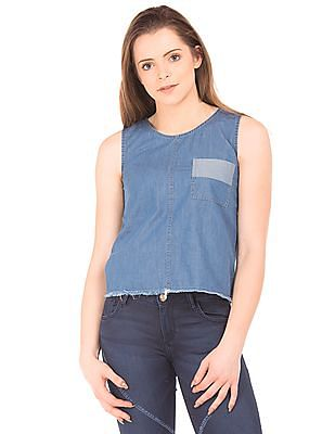Flying Machine Women Panelled Raw Edge Denim Top