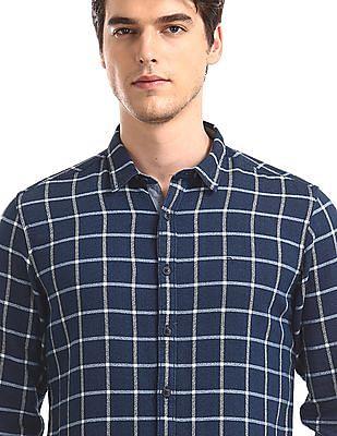 Flying Machine Blue Textured Check Shirt