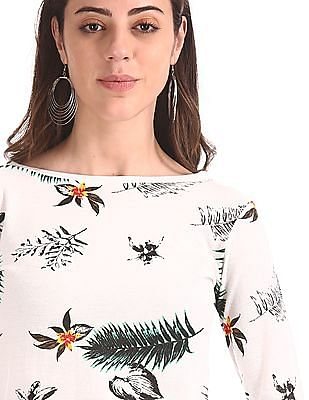 Cherokee White Round Neck Printed Top