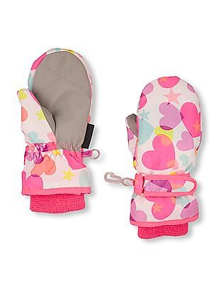 The Children's Place Toddler Girl Multi Colour Heart And Star Print 3 In 1 Mittens