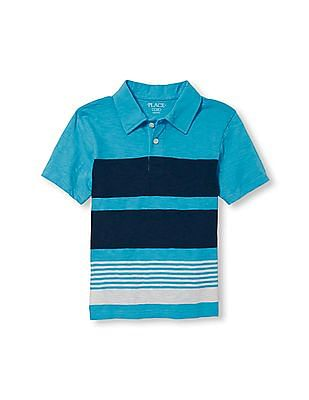 The Children's Place Boys Short Sleeve Multi Stripe Jersey Polo