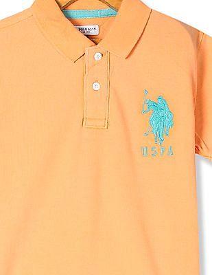 U.S. Polo Assn. Kids Orange Boys Solid Pique Polo Shirt
