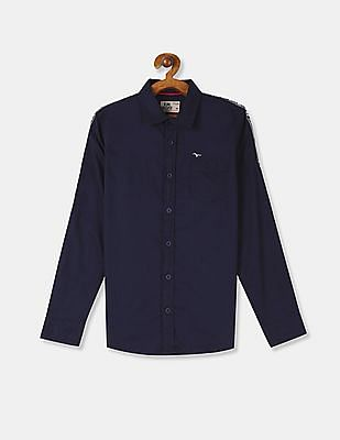 FM Boys Blue Sleeve Tape Solid Shirt