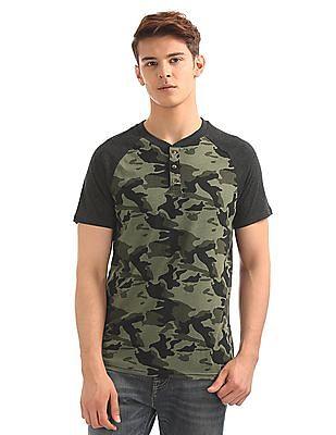 Aeropostale Camo Print Henley T-Shirt