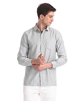 Excalibur White And Black Mitered Cuff Patterned Shirt