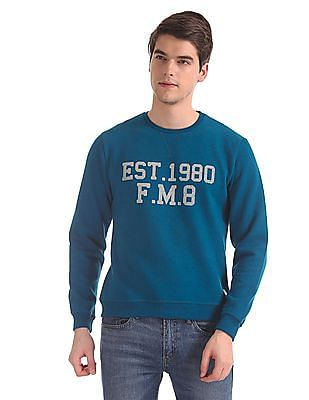 Flying Machine Grey Crew Neck Brand Print Sweatshirt