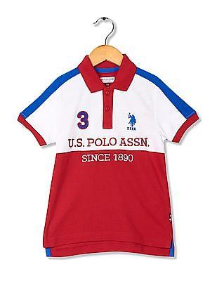 U.S. Polo Assn. Kids Boys Regular Fit Colour Block Polo Shirt