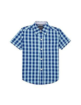 Nautica Kids Boys Short Sleeve Check Shirt