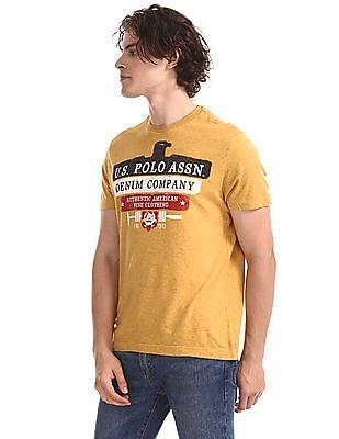 U.S. Polo Assn. Denim Co. Yellow Brand Print Cotton T-Shirt