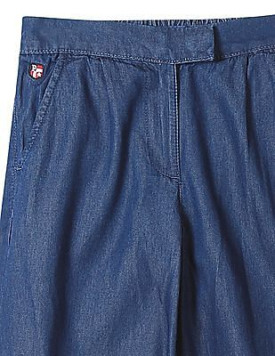 U.S. Polo Assn. Kids Girls Regular Fit Chambray Pants